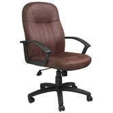 Brown Bomber Mid-Back Fabric Office Chair