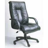 Contemporary High-Back Italian Leather Office Chair