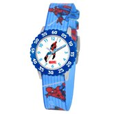 Kid's Spider-Man Time Teacher Watch in Printed Blue with Blue Bezel