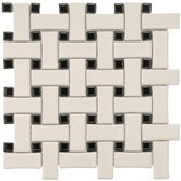"Basket Weave 9-3/4"" x 9-3/4"" Porcelain Mosaic in Cream and Black"