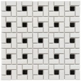 "Retro 12-1/2"" x 12-1/2"" Porcelain Spiral Mosaic in White and Black"