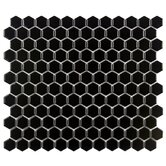 "Retro 12"" x 10-7/8"" Porcelain Hexagon Mosaic in Black"
