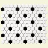 "Retro 12"" x 10-1/4"" Porcelain Hexagon Mosaic in White with Black Dot"