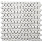 "Retro 11-1/2"" x 11-1/2"" Porcelain Penni Mosaic in White"