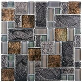 Eden 11-3/4&quot; x 11-3/4&quot; Glass and Stone Versailles Mosaic in Walnut