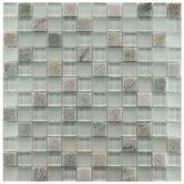 "Sierra 11-3/4"" x 11-3/4"" Glass and Stone Square Mosaic in Ming"