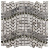 Sierra 12-1/4&quot; x 11-3/4&quot; Glass, Stone and Metal Mosaic in Wave Mercury
