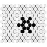 "Retro 11-3/4"" x 10-1/4"" Porcelain Hex Mosaic in Matte White with Snowflake"