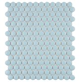 "Retro 9-7/8"" x 11-1/2"" Porcelain Penni Mosaic in Matte Light Blue"