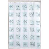 Bath Time 100% Polyester Fabric Shower Curtain