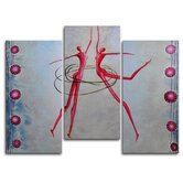 "Hand Painted ""Spinning"" 3-Piece Canvas Art Set"