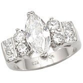 Sterling Essentials Sterling Silver Marquise Cubic Zirconia Engagement-inspired Ring