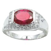 Sterling Essentials Sterling Silver Cubic Zirconia Ring in Red/White