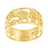 Caribe Gold 14k Gold over Silver Fortuna Cutout Ring