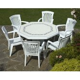 Olimpo Provenza Table with Six Diana Chairs in White