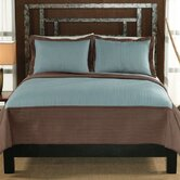 Barclay Full / Queen Quilt with Two Shams in Taupe / Aqua