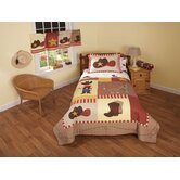 Cowboy Quilt with Sham, Dust Ruffle, Sheet Set, Pillow, and Valance