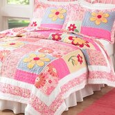 Olivia Pink Quilt with Pillow Sham, Sheet Set, Pillow, and Valance