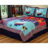Pirate Treasure Quilt with Pillow Sham, Pillow, and Valance