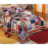 Ronnie Patchwork Prewashed Cotton Quilt with Pillow Sham, Cotton Valances, and Pillow