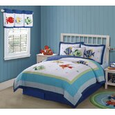 Colorful Sea Quilt with Pillow Sham, Sheet Set, Pillow, Bed Skirt, and Valance
