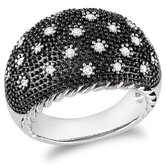 Sterling Silver Rhodium Plated Diamond Black Fashion Ring