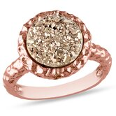 Silver Pink Plated Round Rose Color Druzy Gemstone Ring