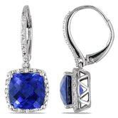 Cushion Cut Diamonds and Blue Sapphire Hoop Earrings