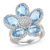 Sterling Silver Oval Cut Sky-Blue Topaz Floral Ring