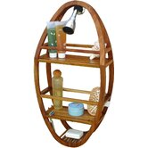 Spa Teak Oval Shower Organizer