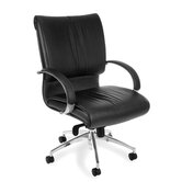 Low-Back Leather Sharp Executive Chair with Arms