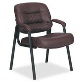 93 Series Leather Visitors Chair with Loop Arms, Burgundy