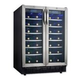 Silhouette 54 Bottle Wine Cooler in Black with Stainless Steel Door Trim