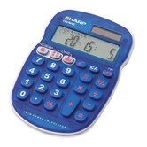 10-Digit Calculator, Twin Powered, 3-1/3&quot;x5&quot;x3/4&quot;, Blue