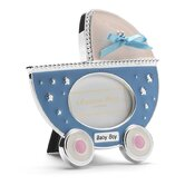 Baby Enamel Photo Frame Blue Pram Frame