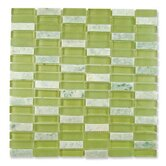 "Impact 5/8"" x 1-7/8"" Glass, Tile, and Metal Mosaic in Green Tea"