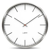 One Wall Clock with White Index Dial in Stainless Steel