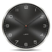 One Wall Clock with Embossed Black Arabic Dial in Stainless Steel
