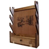 4 Gun Wooden Rack with Deer Print