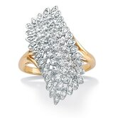 18k Gold/Silver Diamond Cluster Ring