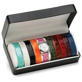Silvertone Interchangeable Strap Watch Set