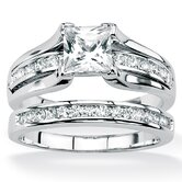 Platinum/Silver 2 Piece Round Cubic Zirconia Ring Set