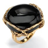 Gold Plated Onyx Cabochon Ring