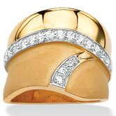 14k Gold Plated Cubic Zirconia Geometric Ring