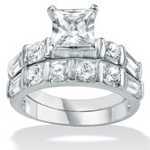Cubic Zirconia Platinum / Sterling Silver Wedding Set