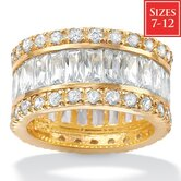 Cubic Zirconia 18K / Sterling Silver Eternity Band