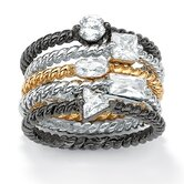 Set of Five Cubic Zirconia Stackable Rings