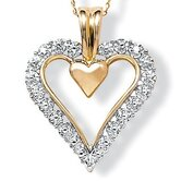 10K Gold Round Diamond Heart Pendant