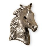 Curiosities Beauty Horse-r Cabinet Knob in Distressed Bright Pewter