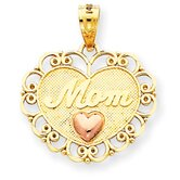 14k Two-tone Mom Heart Pendant- Measures 20.5x17.5mm